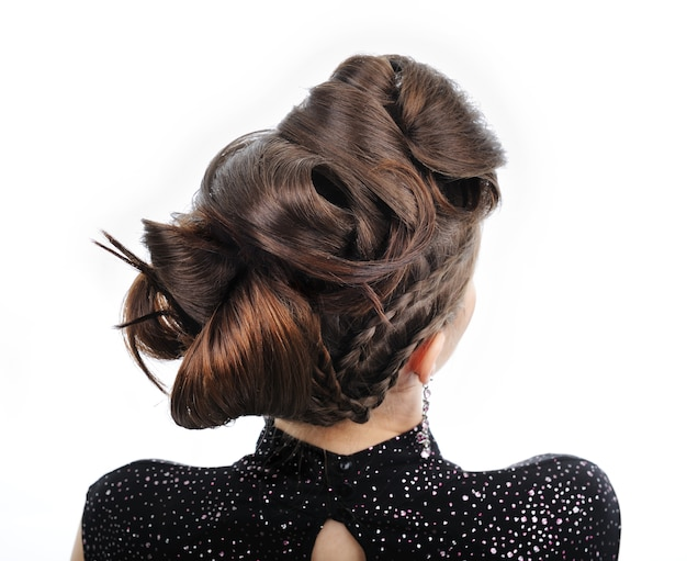 Back view of woman with style hairstyle