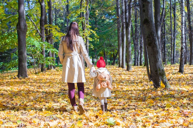 Back view of young mother and her cute little daughter walking in autumn park at sunny day
