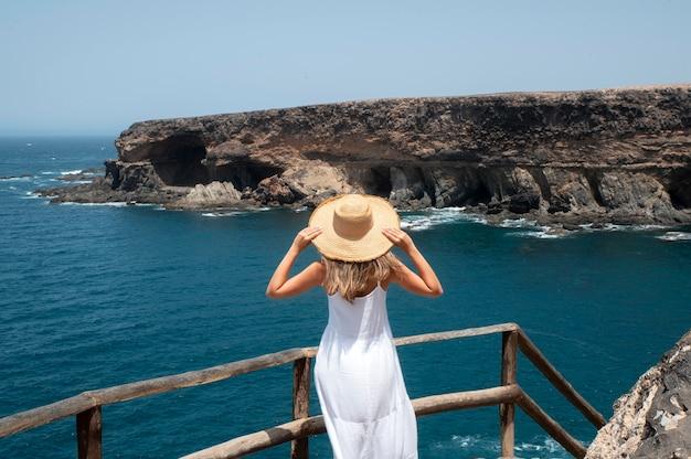 背面図海を見ている若い女性 無料写真