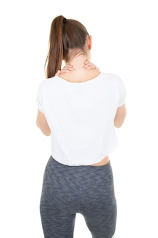 Back view young woman self-acupressure for relaxing shoulder and backache