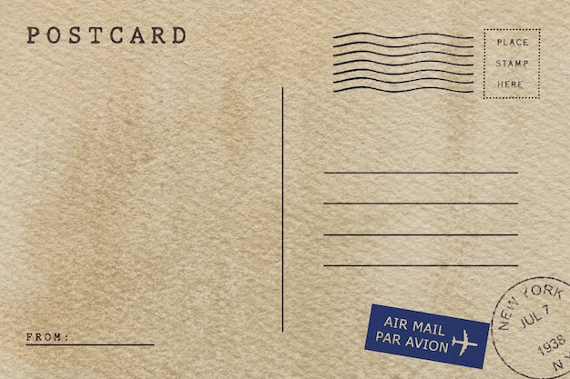 Back of vintage airmail postcard