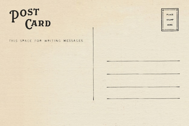 Back of vintage blank postcard with space for text