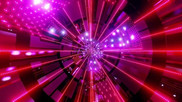 Back wards 4k uhd flying neon dots tunnel 3d illustration