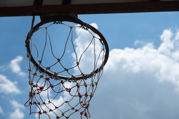 Backboard and blue sky background