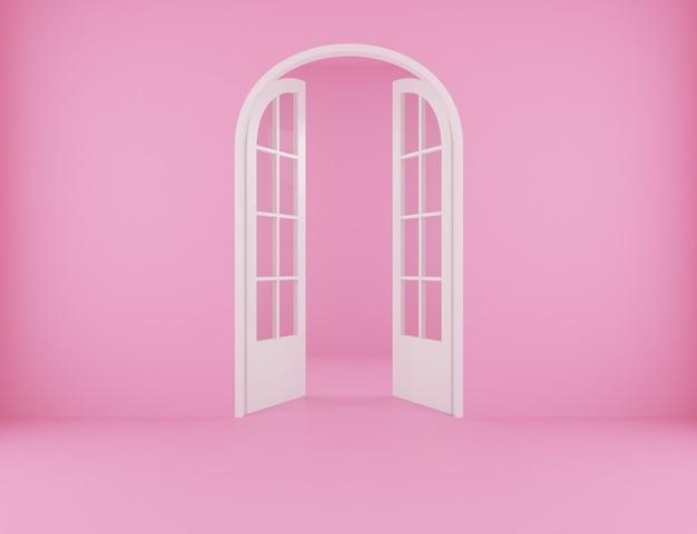 Backdrop for pink room with open door. 3d rendering