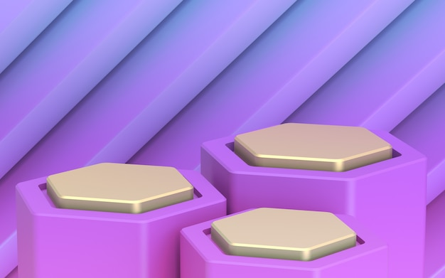 Backdrop for your goods. golden three-level showcase. purple distant plan