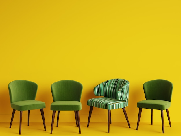 Стул с узором красочные полосы среди простых зеленых стульев на желтом backgrond с копией пространства. концепция минимализма. цифровая иллюстрация.3d рендеринг макет
