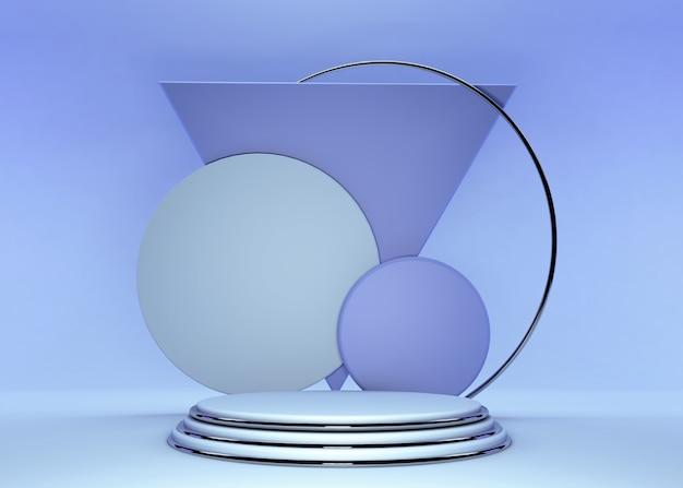 연단과 최소한의 파란색 벽 장면, 최소한의 추상적 인 배경 3d 블루 렌더링 배경 3d 렌더링 추상적 인 기하학적 모양 블루 파스텔 색상입니다. 현대 웹 사이트에서 상을위한 무대.