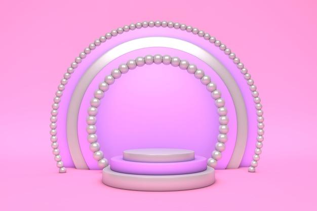 연단 및 최소한의 벽 장면, 진주와 추상적 인 기하학적 모양 파스텔 배경 3d 핑크 렌더링.
