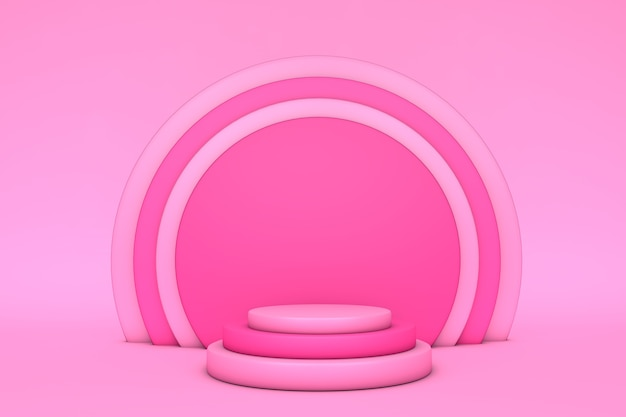 Background 3d pink rendering with podium and minimal product scene. abstract geometric shape pink bright.