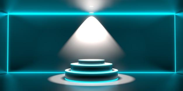 Background 3d render of empty podium. modern future technology background. futuristic interior sci-fi hi tech concept.