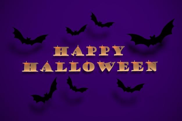 Фон 3d-рендеринга для праздника хэллоуина с надписью свечи и летучими мышами