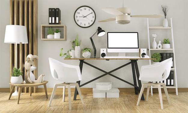 空白の画面と事務室の装飾を持つコンピューターのモックアップbackground.3dレンダリングのモックアップ