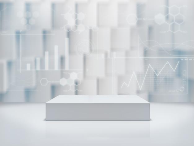 ディスプレイ用台座、デザイン用プラットフォーム、空白の製品スタンド、抽象的なbackground.3dレンダリングに関するグラフィックス研究。
