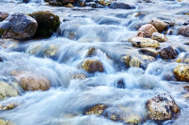 背景-岩の多い水路の渓流、動きのある水がぼやけている