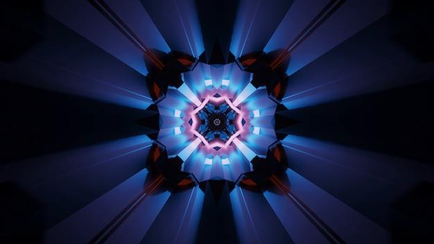 Sfondo di effetti di luce caleidoscopici futuristici astratti del partito con luci al neon
