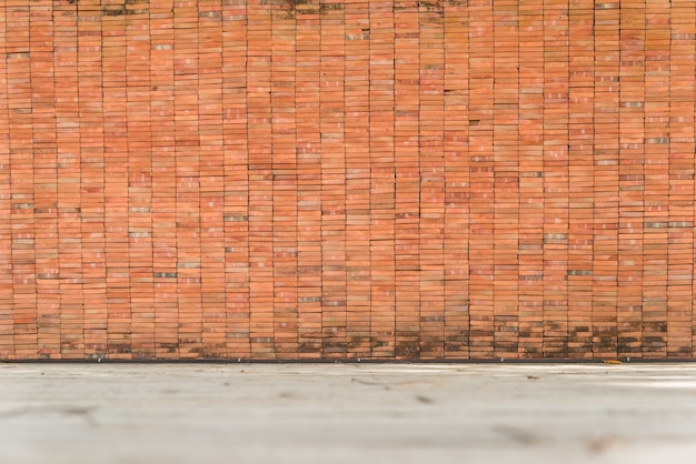 Background of age grungy texture brick and stone wall with white floor