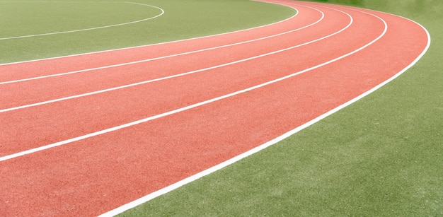 Background of atheletics running track.