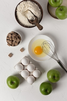 Background for baking. food supplies. the concept of an apple pie recipe