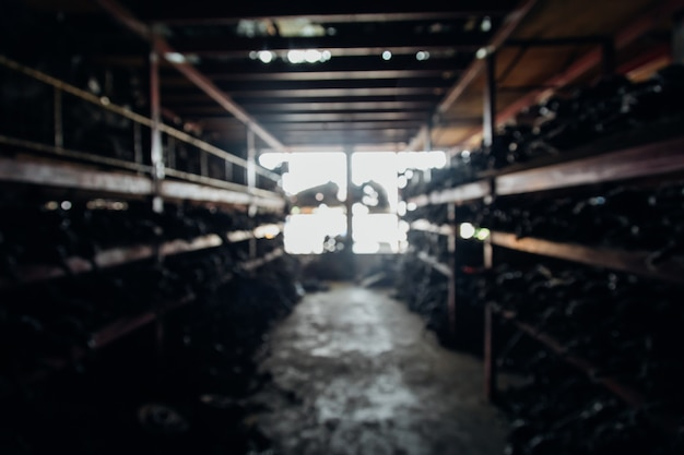 Background for banner design. blur photo of second-hand spare parts of old car parts warehouse store.