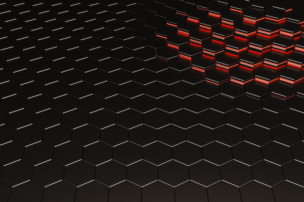 Background of black metal hexagons with red illuminated lines in one corner. 3d rendering