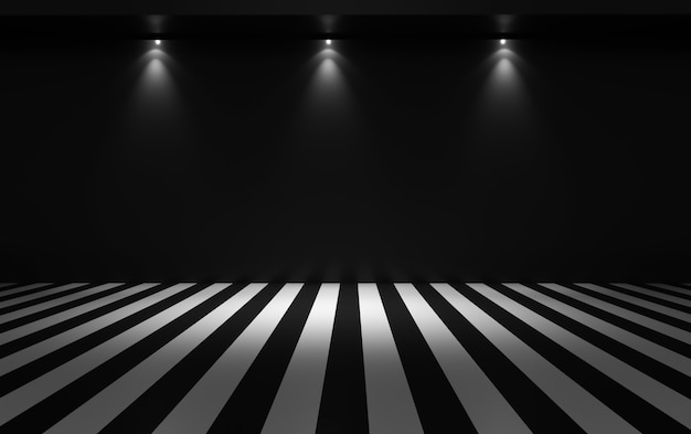 Фон черный прямой. 3d иллюстрация