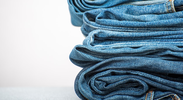 Background of blue jeans denim texture
