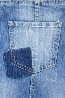 Background of blue jeans with empty pocket