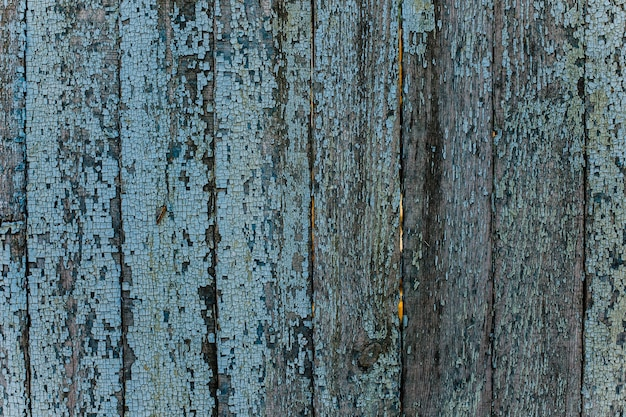 Background of blue wooden planks with peeling old paint. natural texture of painted wood.