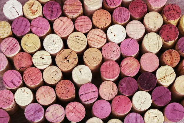 Background of  bright wine corks from red and white wine.