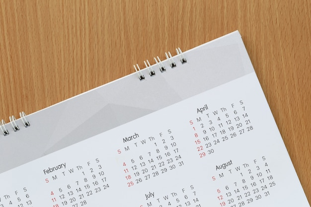 Background of calendar and have copy space for design and presentation.