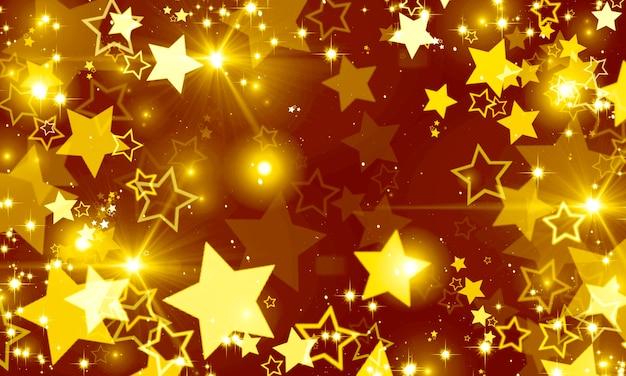 황금 빛나는 별 bokeh의 배경 크리스마스