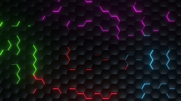 Background color black honeycomb and lighting effect color red, ping, red, blue, abstract texture style
