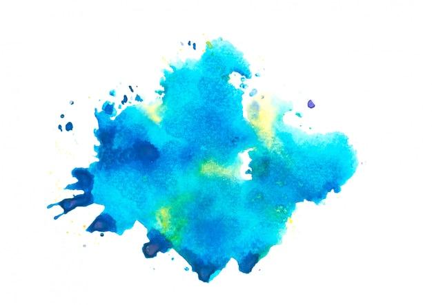 水彩スプラッシュbackground.colorブルーの色合いアート紙に描かれた