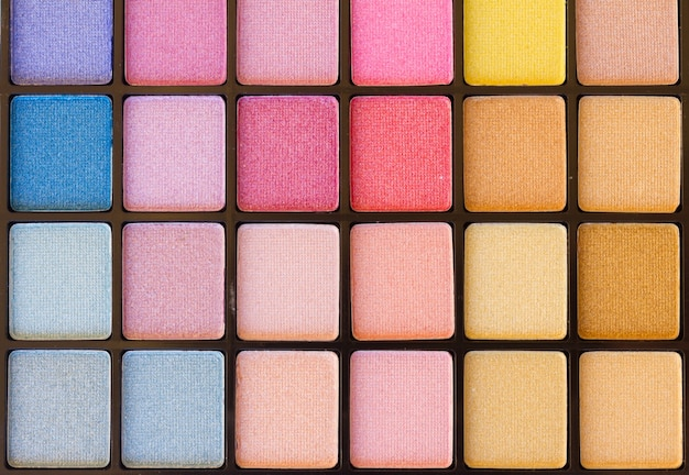 Background of colorful blue, pink and yellow eye shadows palette