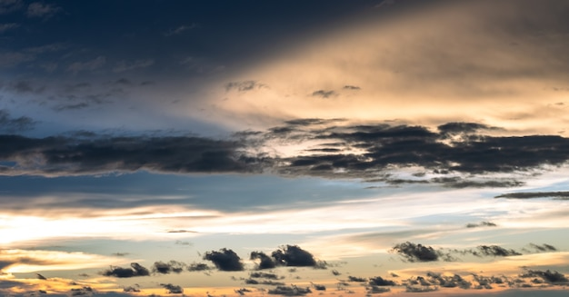 Background of colorful dramatic cloudy sky before the sunset