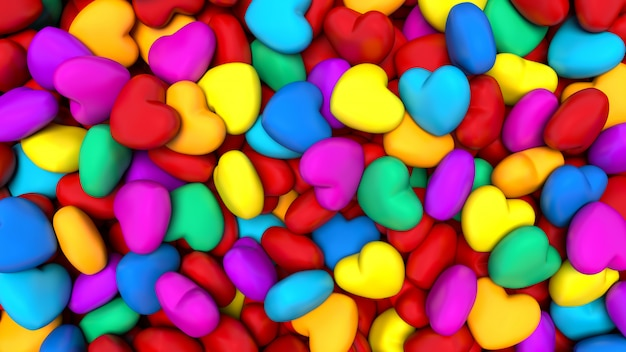 Background composed of many colorful hearts