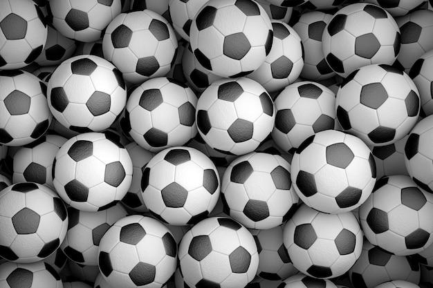多くのサッカーボールで構成される背景