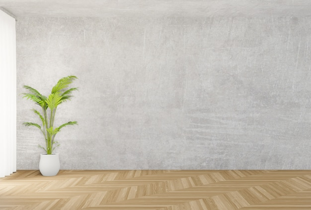 Background concrete wall and wooden floor , tree, 3d rendering