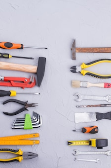 Background of construction tools with text space