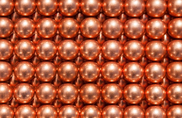 Background of copper balls, top view.