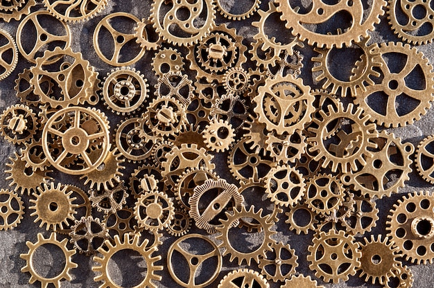 Background of copper colored gears.