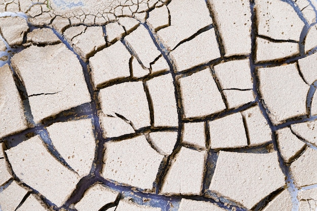 Background cracked clay closeup. dried earth