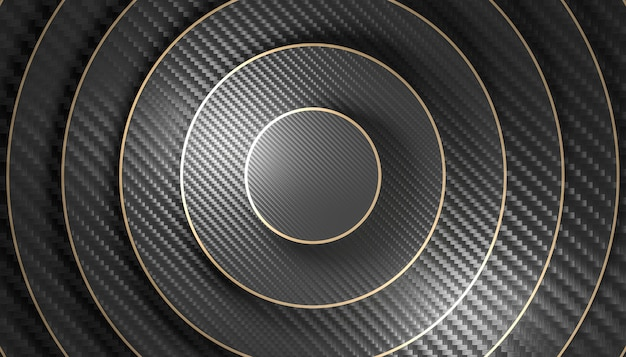 Background of different size circle with carbon fiber pattern