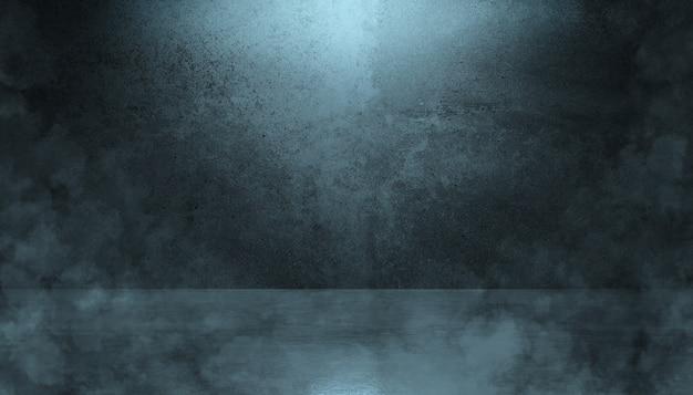 Background of an empty dark stage design studio, smoke, smog, empty dark scene, concrete floor, interior texture for display products