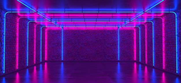 Background of an empty room with brick walls and neon light. brick walls, concrete floor. neon rays and glow.