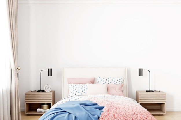 Background of an empty white wall in a bedroom for a girl