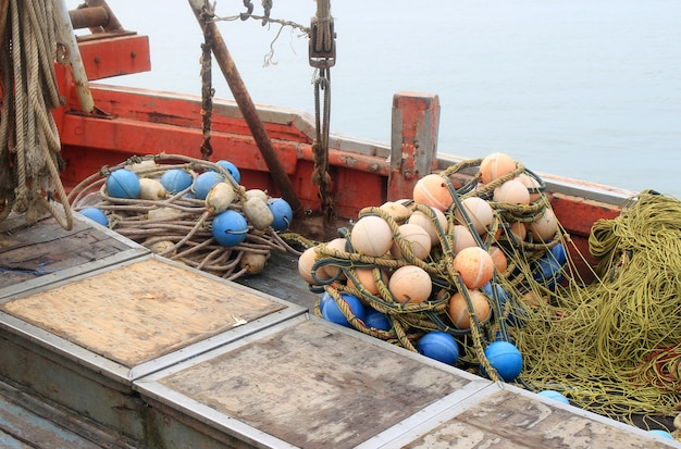 Background of fishing nets and floats