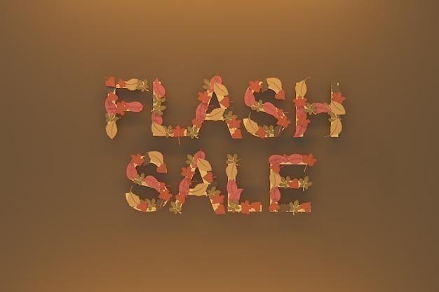 Справочная информация флэш-продажа, написание из листьев. 3d визуализация иллюстрации