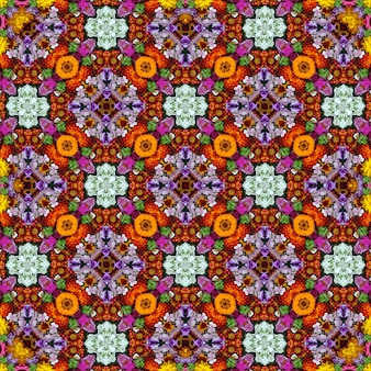 Background of flowers and berries, the effect of a kaleidoscope.